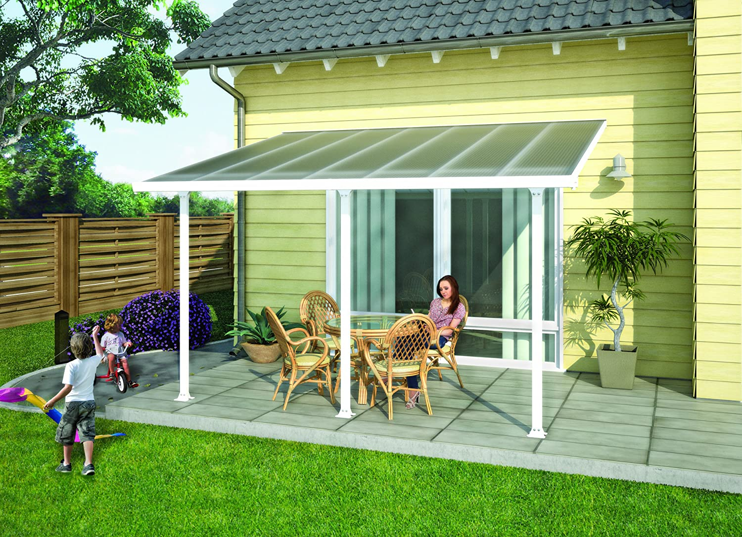 Palram Pergola Patio Cover Feria 3 X 4.25m With Robust Structure For  Year Round Use   White: Amazon.co.uk: Garden U0026 Outdoors