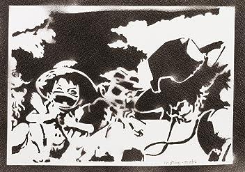 One Piece Luffy Ace Et Sabo Handmade Street Art - Artwork - Poster