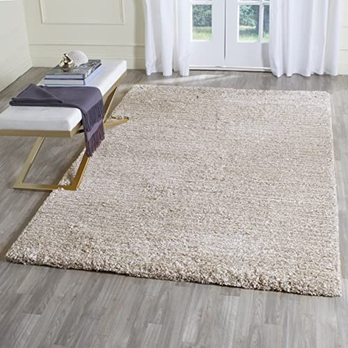 Safavieh Ultimate Shag Collection SGU211C Handmade Sand and Ivory Polyester Area Rug 3 x 5