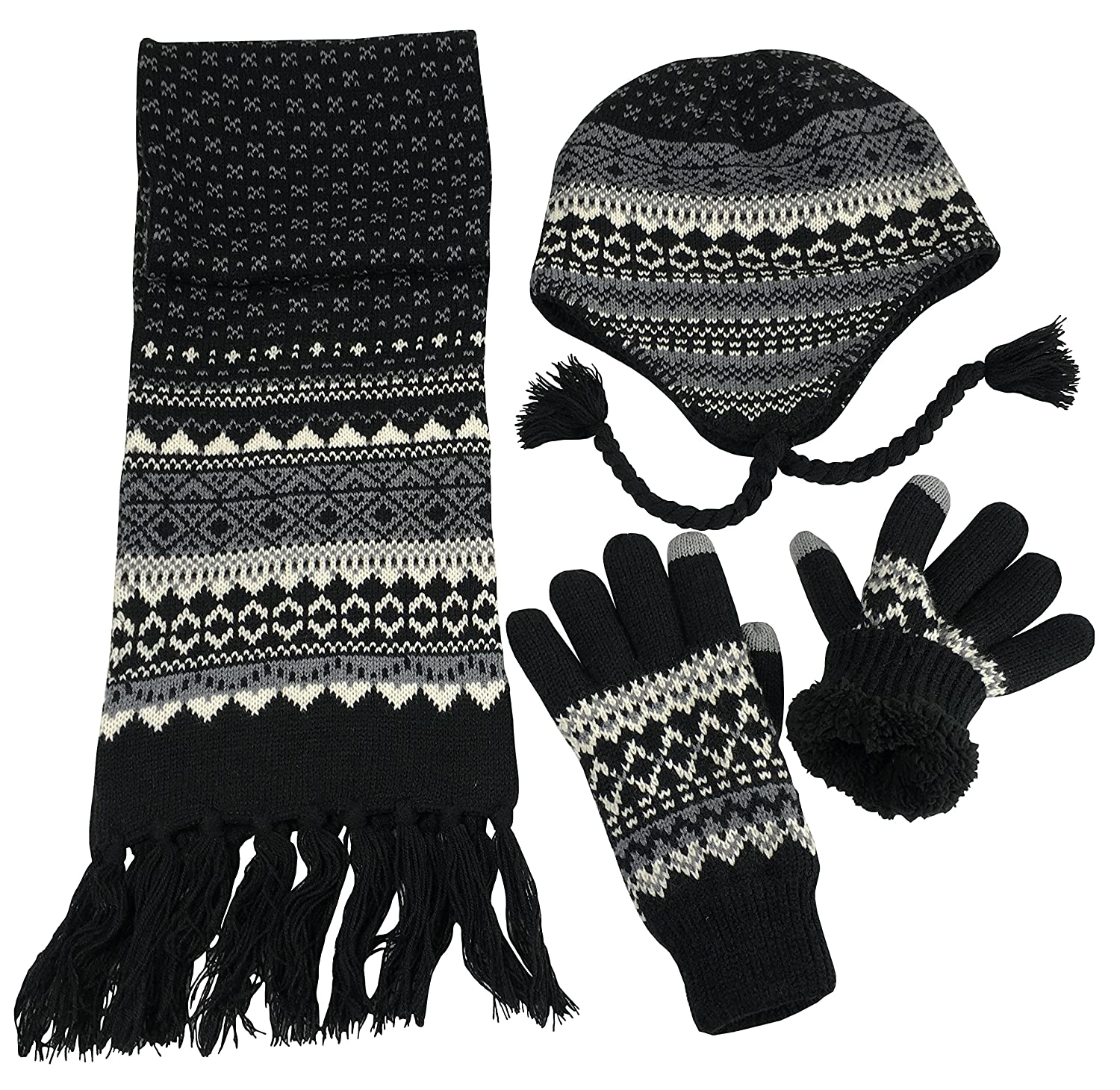 NIce Caps Big Boys Racer Striped Knitted Hat//Scarf//Glove Fleece Lined Set
