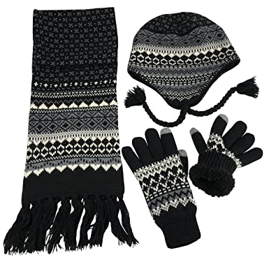 c4e4a5144b926a Amazon.com: N'Ice Caps Big Boys Racer Striped Knitted Hat/Scarf/Glove Fleece  Lined Set (Black/Grey/Multi, 8-12yrs): Clothing
