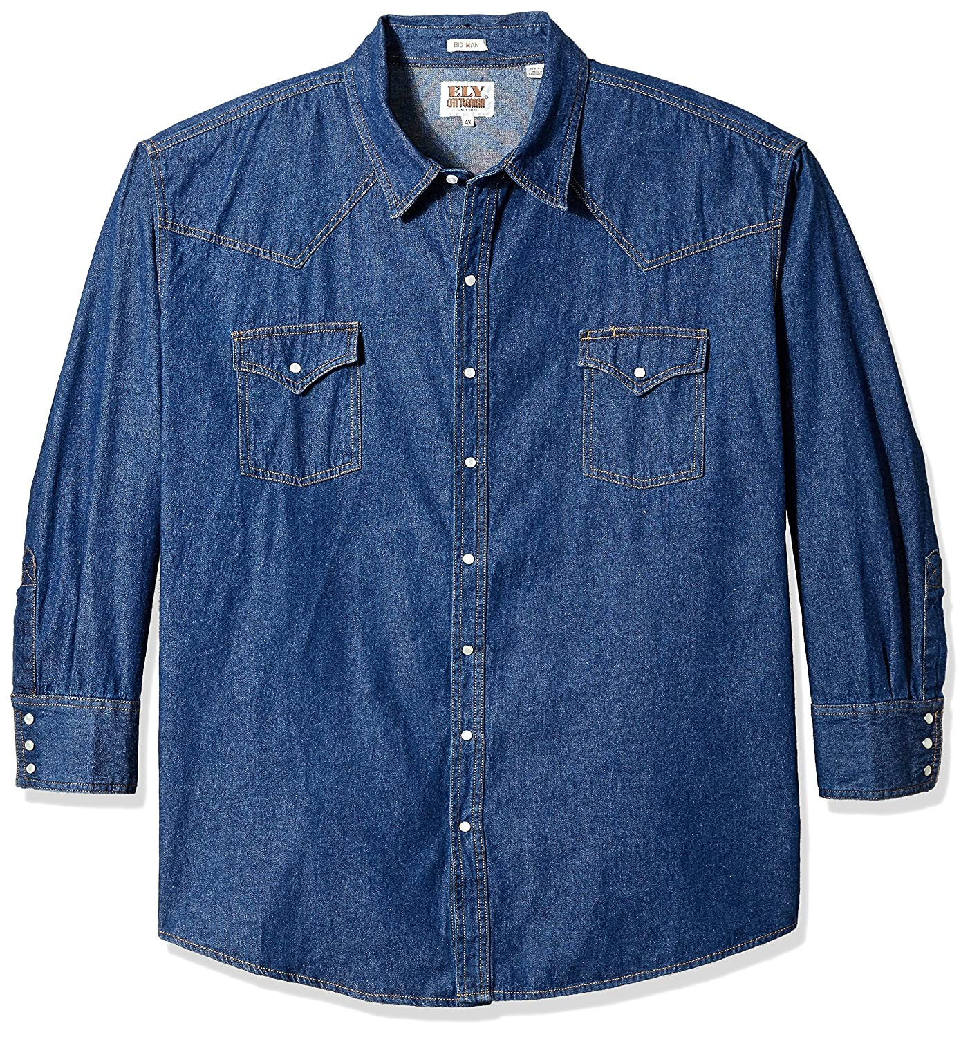 c26436e1f2 Ely Cattleman Big Mens Long Sleeve Denim Western Shirt: Amazon.ca: Clothing  & Accessories
