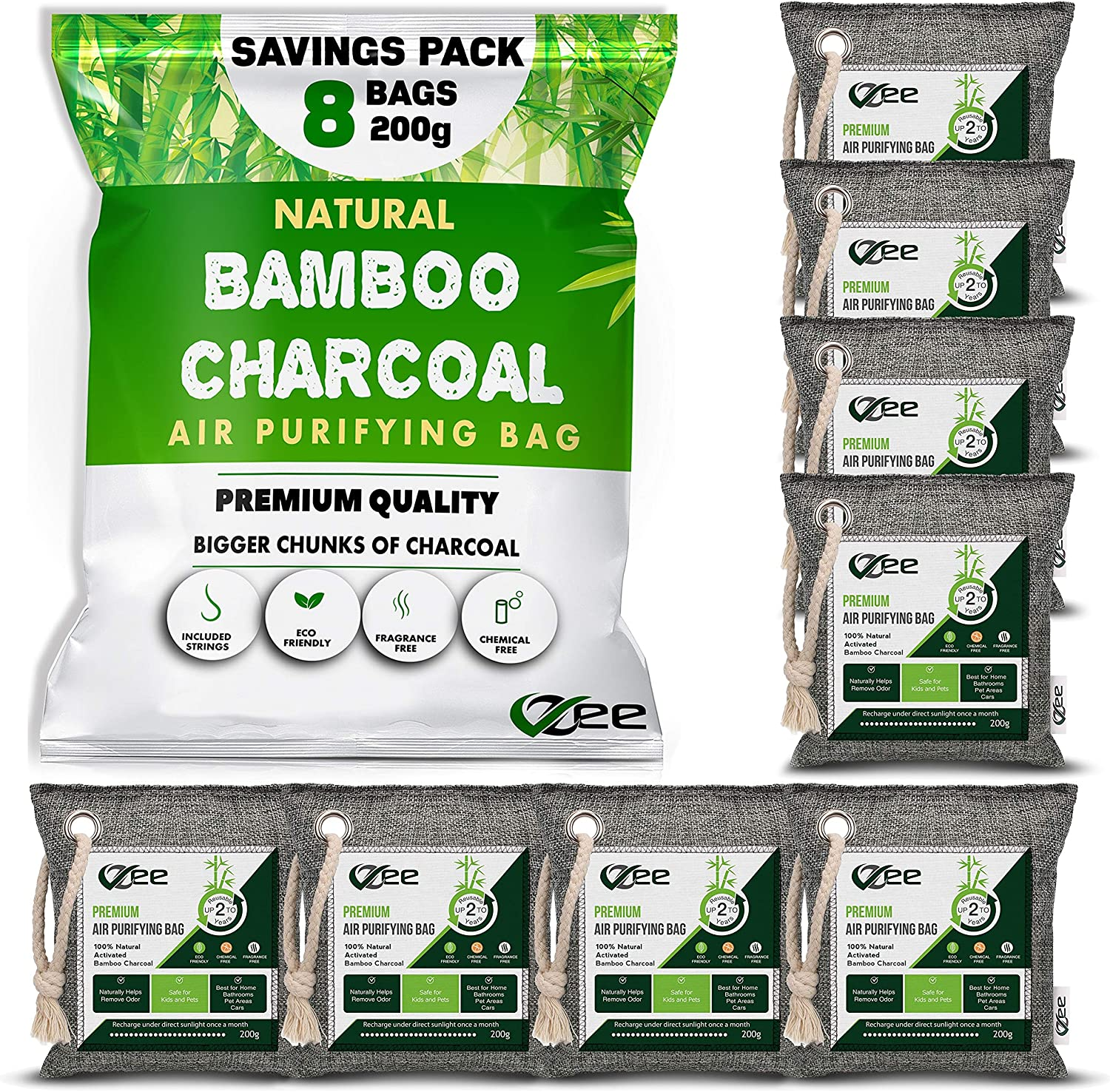 VZee Odor Eliminator, Activated Charcoal Bags Odor Absorber, 8 Pack x 200g, 8 Cords, Ziplock Packaging, Nature Fresh Bamboo Charcoal Air Purifying Bag, Odor Absorbers for Home, Bamboo Charcoal Bags, Deodorizers for Home, Pet, Shoe, Car, Closet, Smoke, Carpet, Fridge, Dogs, Cats, Basements, Musty Smell, New Car Smell, Bamboo Charcoal Bags, Odor Neutralizer, Strong Odor Remover