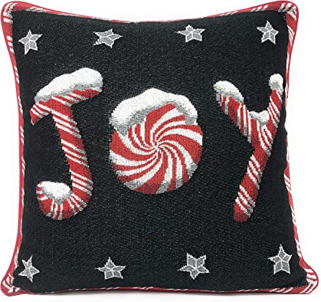 Amazon Com Dada Bedding Throw Pillow Cover Peppermint Joy Festive Christmas Holiday Tapestry Red Black Stars Cushion Case 16 X 16 12904 Home Kitchen