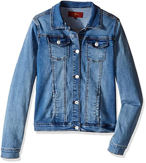 75fe7f8edfca Amazon.com: 7 For All Mankind Little Girls' Stretch Denim Jacket ...