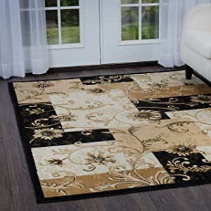 Home Dynamix Affordable Price, Value Priced Rug | Optimum Byron Area Rug Elegant Style, Romantic Look | Black Indoor Rug, Neutral Shades | Comfort and Warmth