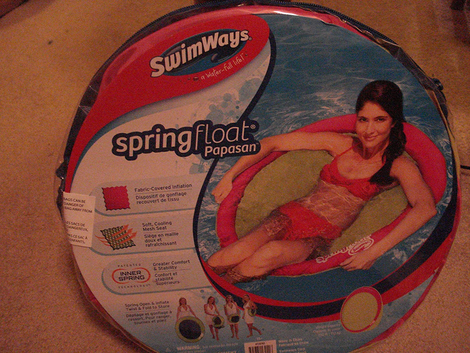 SWIMWAYS SPRINGFLOAT PAPASAN LOUNGER POOL OR BEACH PINK by SwimWays