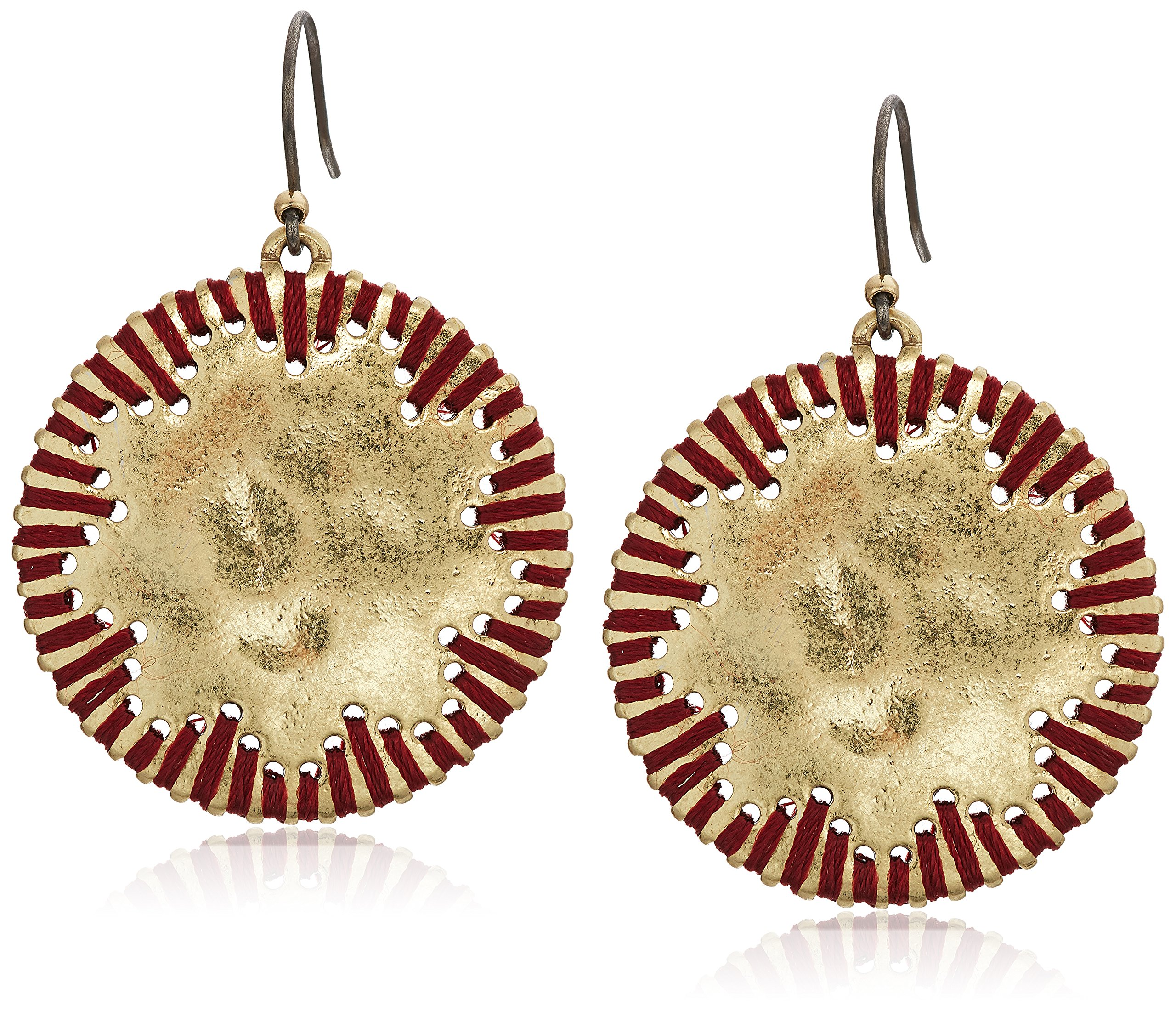 Lucky Brand Womens Threaded Circle Drop Earrings, Gold, One Size