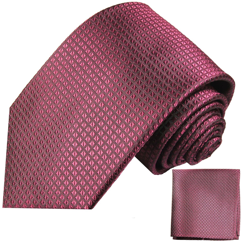 P.M. Krawatten Paul Malone Corbata de seda frambuesa + pañuelo ...
