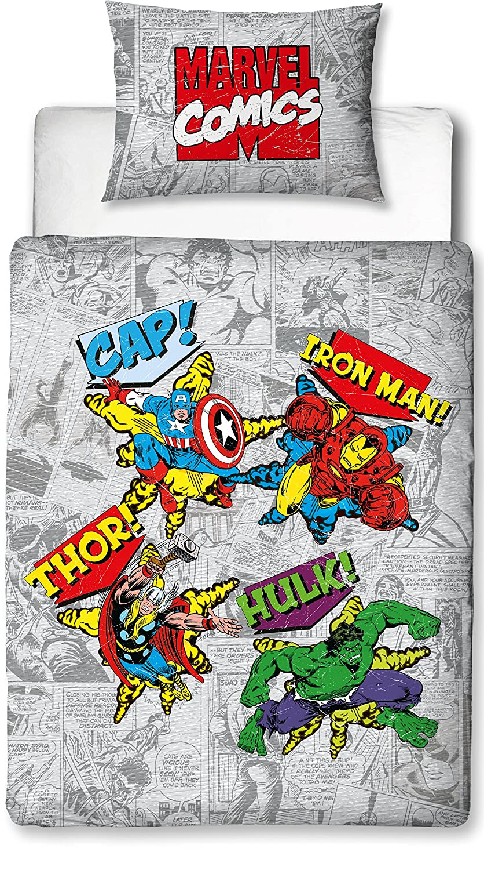 Marvel Junior Retro Comic Dise/ño Poli/éster Funda de edred/ón Conjunto Plata /único