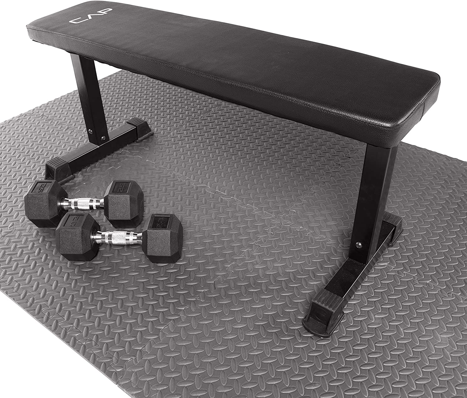 """CAP Barbell 6-Piece Puzzle Exercise Mat, Black, 1/2"""" Thick : Sports & Outdoors"""