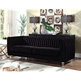 Iconic Home Kent Elegant Velvet Modern Contemporary Plush Cushion Seat Round Acrylic Feet Sofa, Black