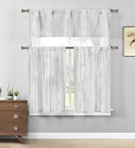 Home Maison - Kylie Medallion Striped Kitchen Tier & Valance Set | Small Window Curtain for Cafe, Bath, Laundry, Bedroom - (Grey & White)