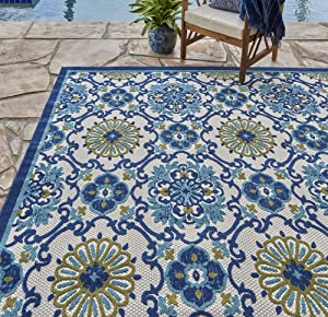Gertmenian 21621 Indoor Outdoor Rugs Patio Area Carpet, 8x10 Large, Blue Abstract Medallion