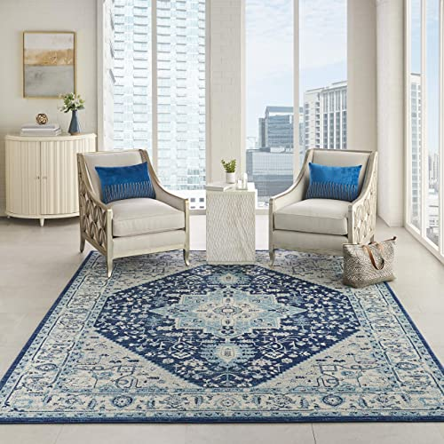 Nourison TRA06 Tranquil Persian Vintage Ivory Navy Area Rug 8 10 X 11 10 , 9 x 12