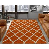 Ottomanson Ultimate Shaggy Collection Moroccan Trellis Design Shag Rug Contemporary Bedroom and Living room Soft Shag Rugs, Orange, 5'3 L x 7'0 W