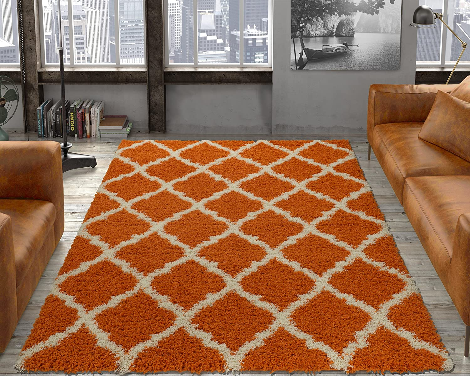 Ottomanson Ultimate Shaggy Collection Moroccan Trellis Design Shag Rug Contemporary Bedroom and Living room Soft Shag Rugs, Orange