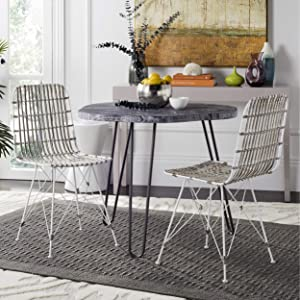 Safavieh Home Collection Minerva White Wash Wicker (Set of 2) Dining Chair,
