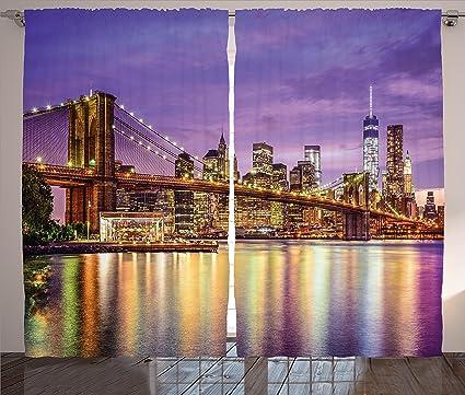 Ambesonne New York Curtains Decor NYC Exquisite Skyline Manhattan Broadway Old Neighborhood Tourist Country Print