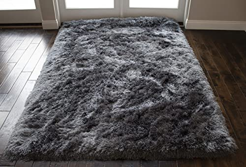 Rome Shimmer Cozy Shag Shaggy Collection Solid Fluffy Fuzzy Furry Flokati Contemporary Hand Woven Modern Contemporary 5-Feet-by-7-Feet Polyester Made Area Rug Carpet Rug Silver Grey Gray Color