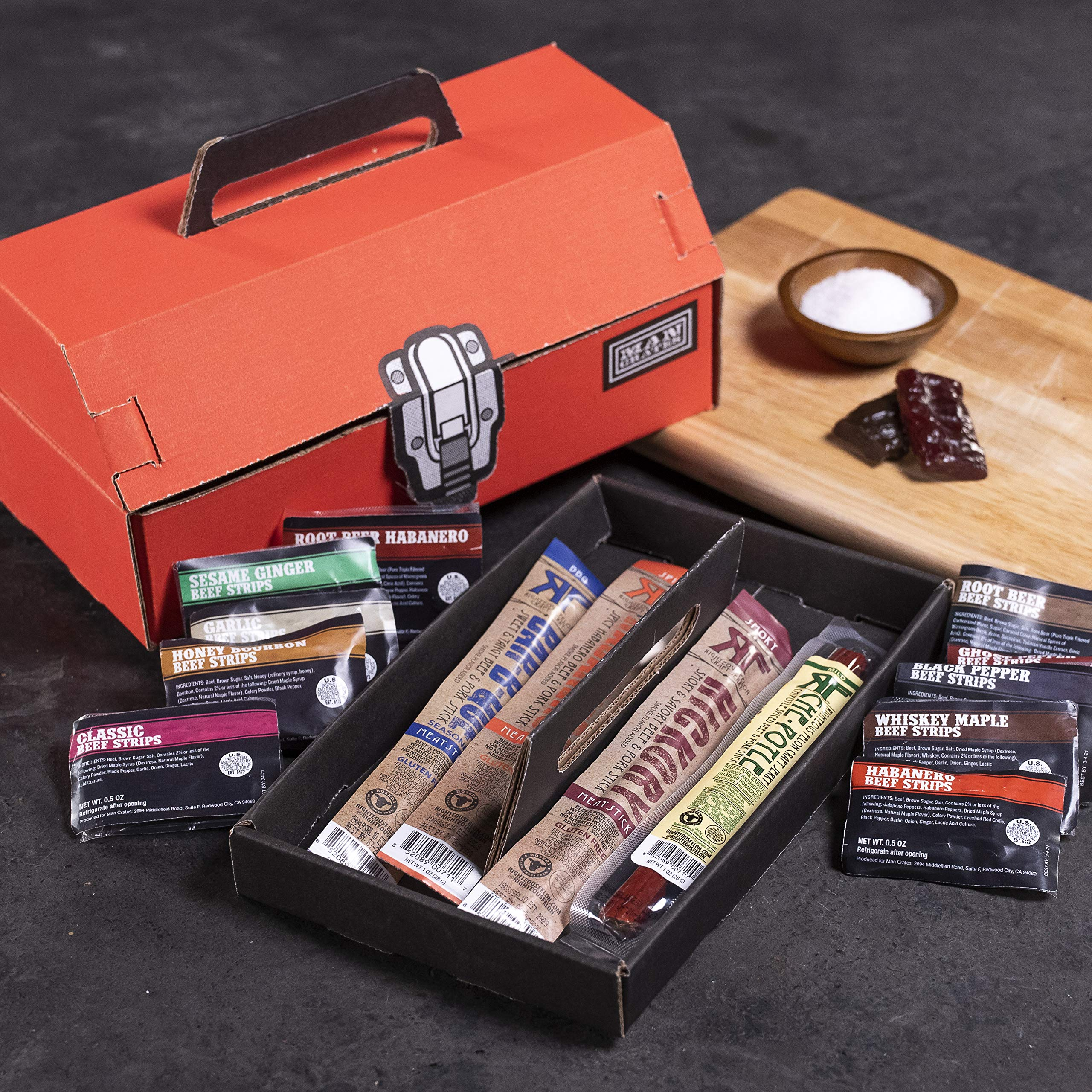 Man Crates Jerky Tool Box - Unique Gift For Men - Includes 14 Delicious Beef Jerky Flavors - In A Delightfully Surprising Tool-Shaped Box by Man Crates (Image #2)