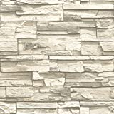 RoomMates RMK9026WP Natural Stacked Stone Peel and Stick Wallpaper Décor