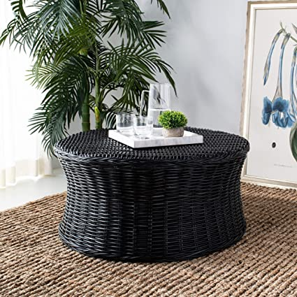 MISC Round Wicker Ottoman Black Large Rattan Coffee Table Rounded Shape  Circular Footstool Indoor Living Room