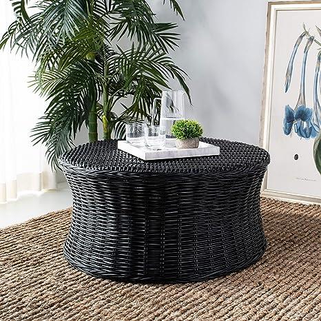 Excellent Amazon Com Misc Round Wicker Ottoman Black Large Rattan Ibusinesslaw Wood Chair Design Ideas Ibusinesslaworg