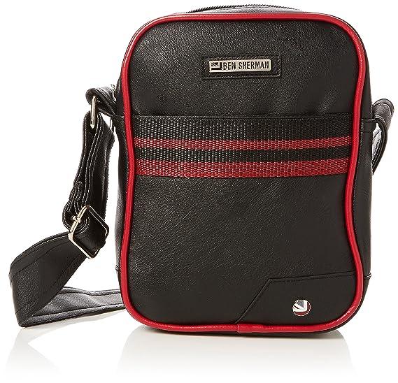 9b720d8371c Ben Sherman Mens Palmer Pu Flight Bag Messenger Bag Black (Black/Red ...