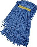 AmazonBasics Cut-End Cotton Commercial String Mop Head, 1.25 Inch Headband, Large, Blue, 6-Pack