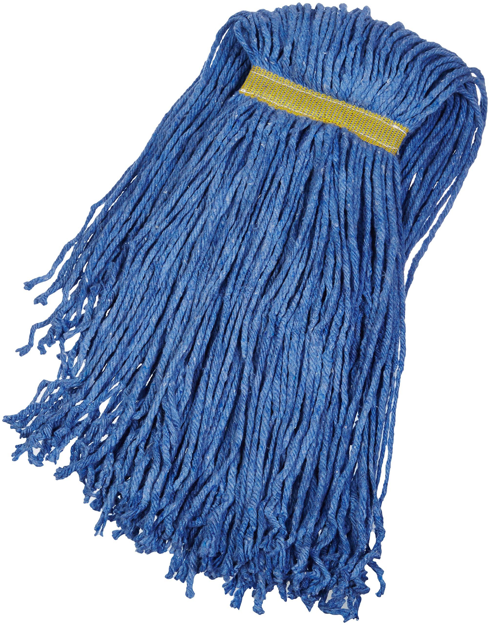 AmazonBasics Cut-End Cotton Mop Head, 1.25-Inch Headband, Large, Blue - 6-Pack