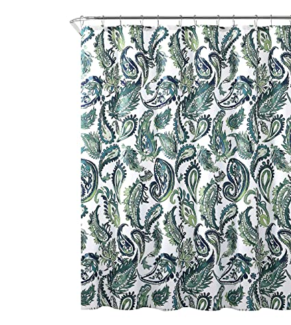 Amazon Decorative Blue Green Fabric Shower Curtain Watercolor