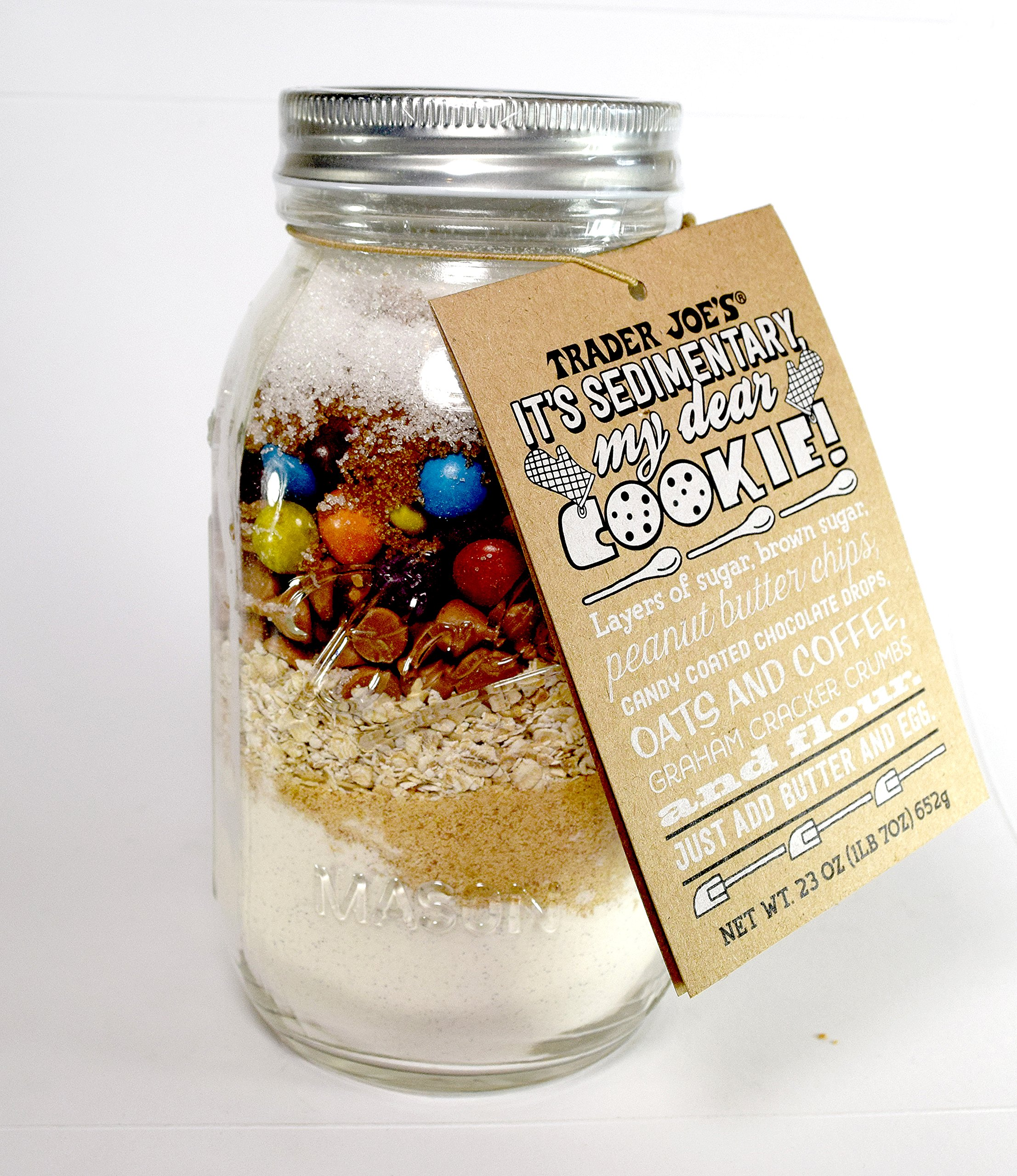 Trader Joe's It's Sedimentary My Dear Cookie! Cookie Mix in Mason Jar 23 Oz.