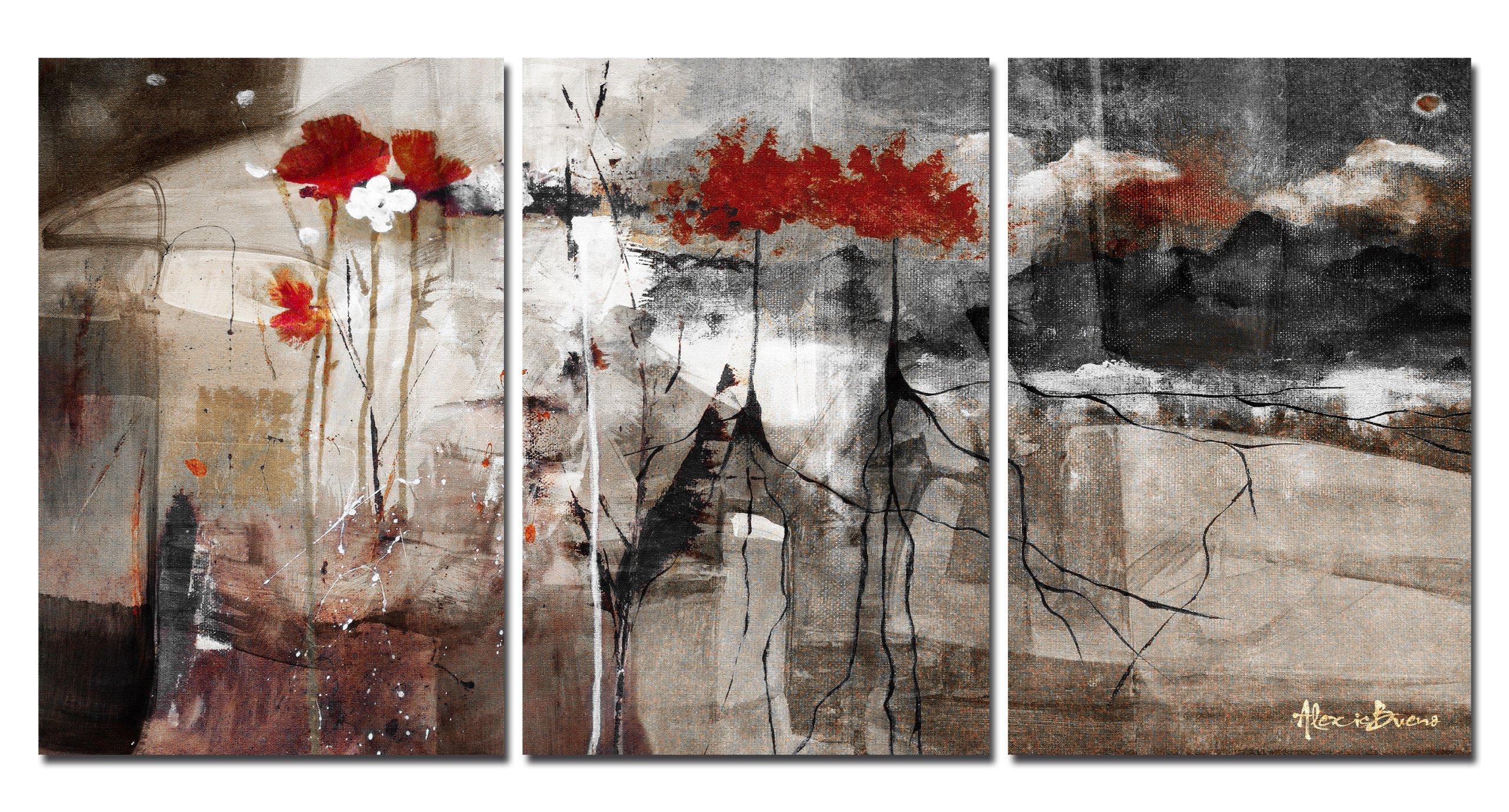 Ready2hangart Abstract Wall Art, 20 x 48, Grey