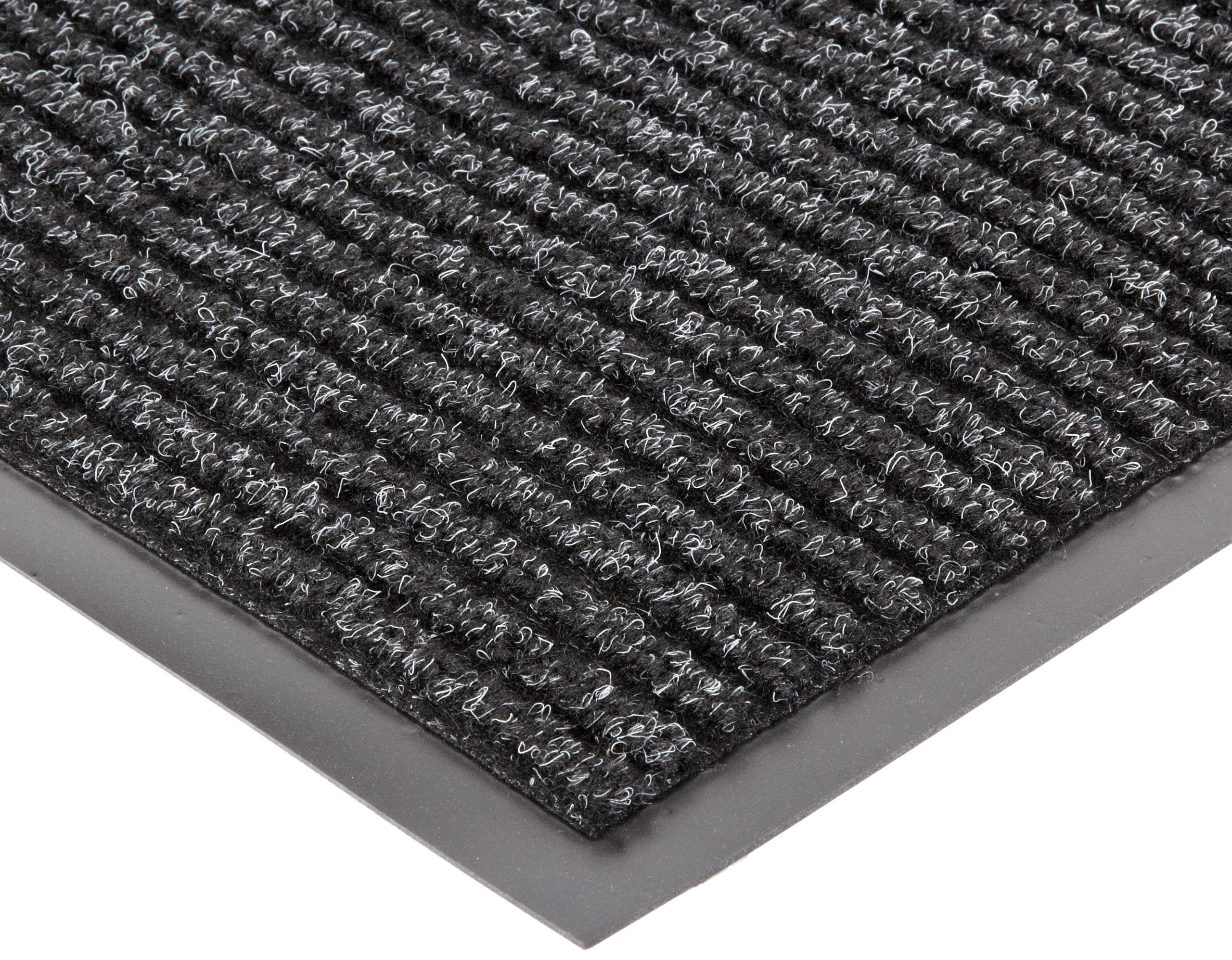 NoTrax 117 Heritage Rib Entrance Mat, for Lobbies and Indoor Entranceways, 4' Width x 6' Length x 3/8'' Thickness, Charcoal