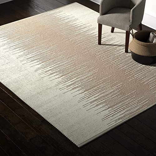 Rivet Abstract Reflections Modern Wool Area Rug, 8 x 10 Foot, Taupe
