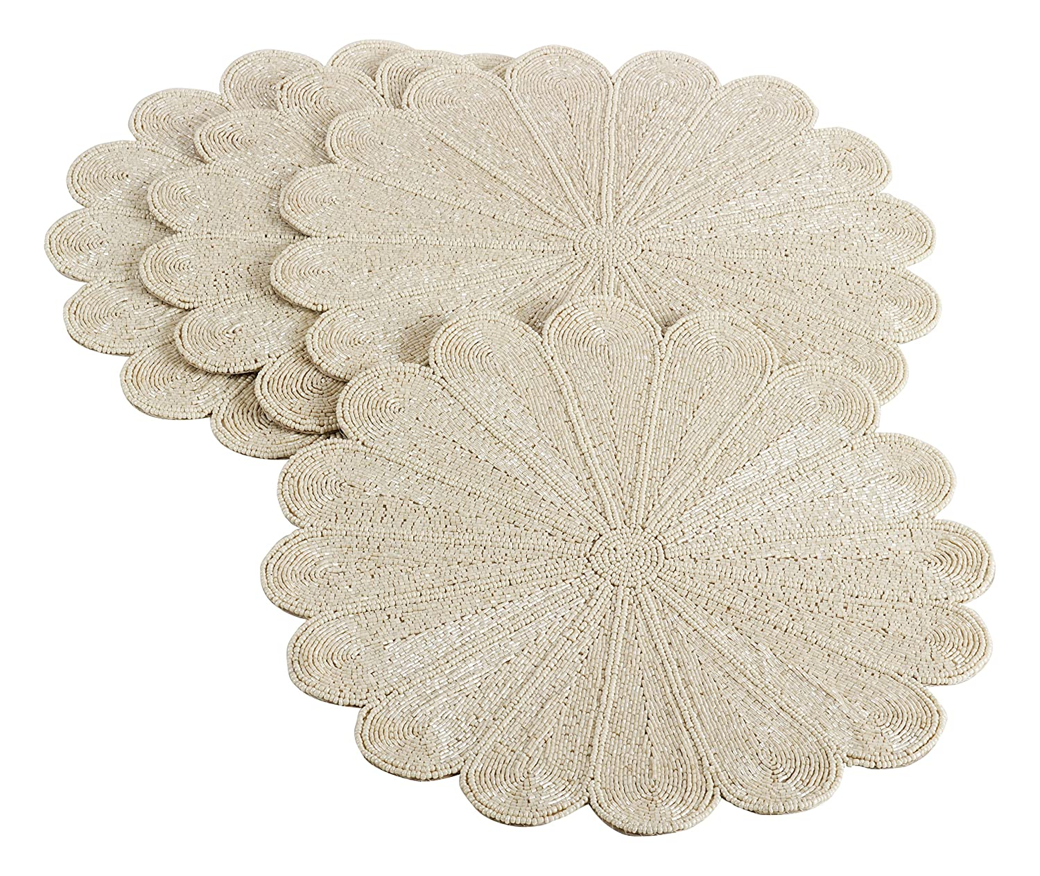 Christmas Tablescape Décor - Ivory beaded flower petal design placemats - Set of 4
