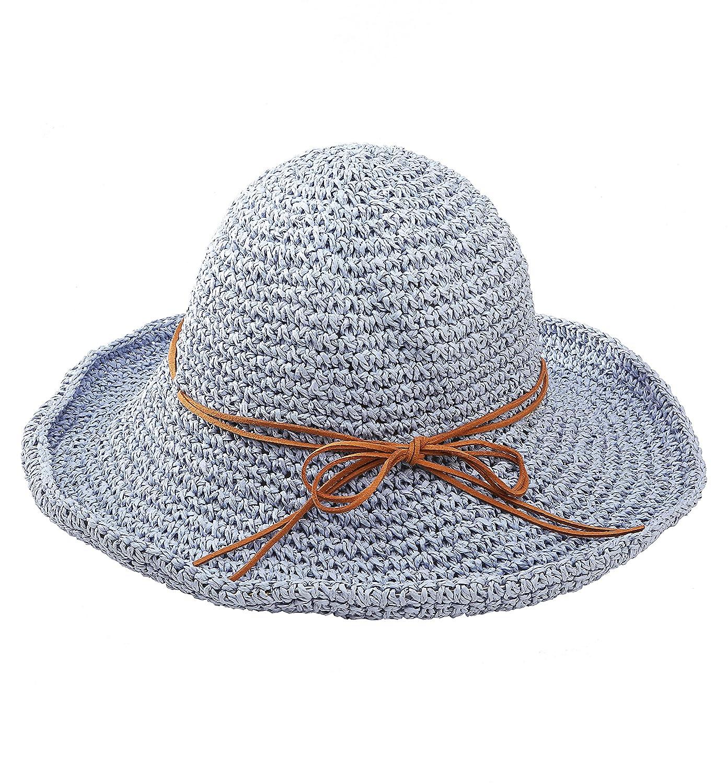fcc3e8c1f07 Urban CoCo Women s Wide Brim Caps Foldable Summer Beach Sun Straw Hats (  Rice)  Amazon.co.uk  Clothing
