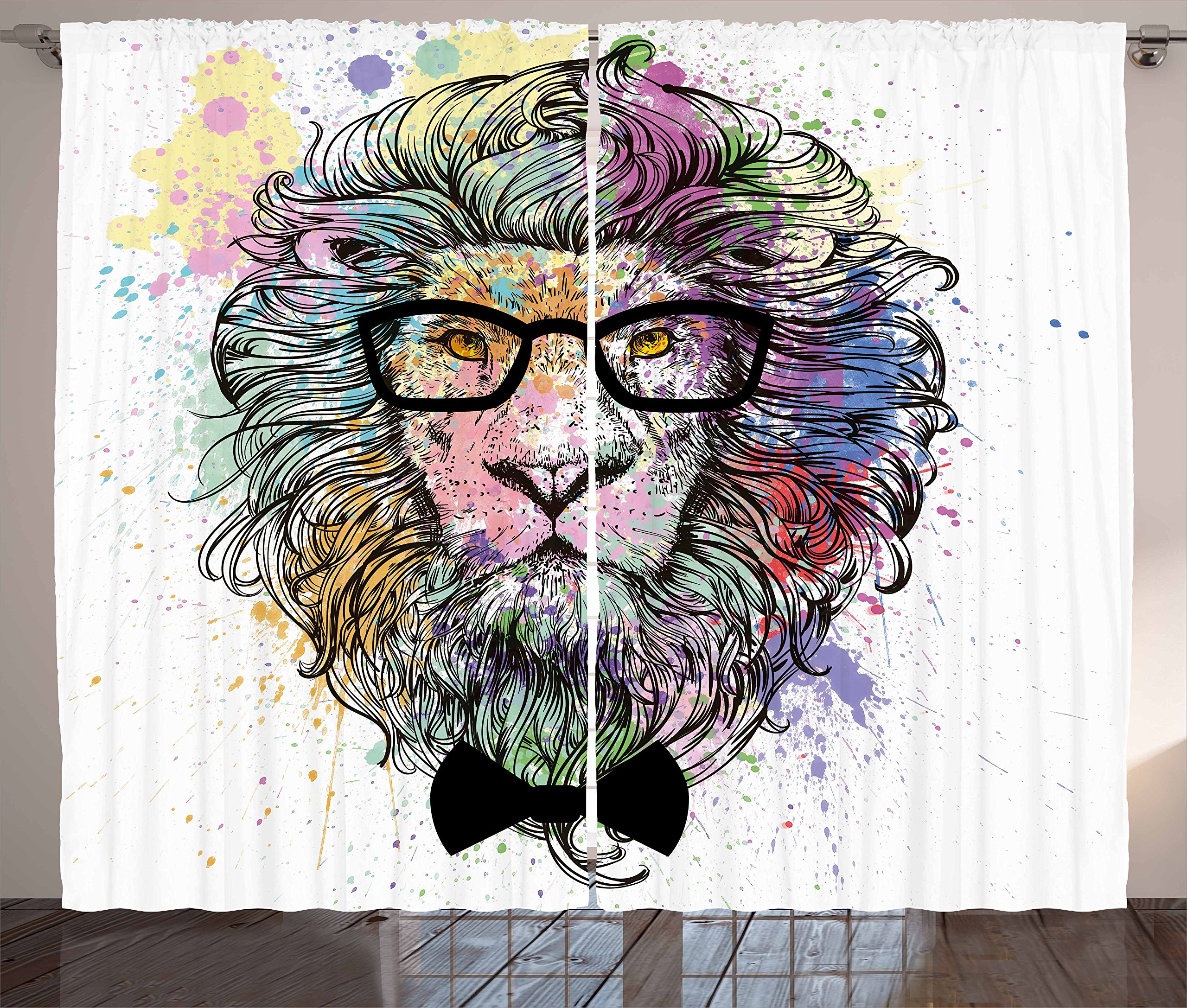 Ambesonne Fashion House Decor Curtains by, Hipster Lion with Glasses and Bowtie King of Animals Splash Style Art, Living Room Bedroom Window Drapes 2 Panel Set, 108W X 84L Inches, Purple Black
