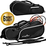 Athletico 6 Racquet Tennis Bag | Padded to Protect Rackets & Lightweight | Professional or Beginner Tennis Players | Unisex Design for Men, Women, Youth and Adults (Black)