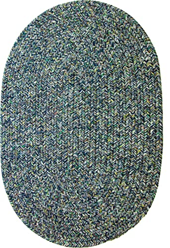 Sabrina Tweed Indoor Outdoor Oval Braided Rug, 5 by 8-Feet, Denim