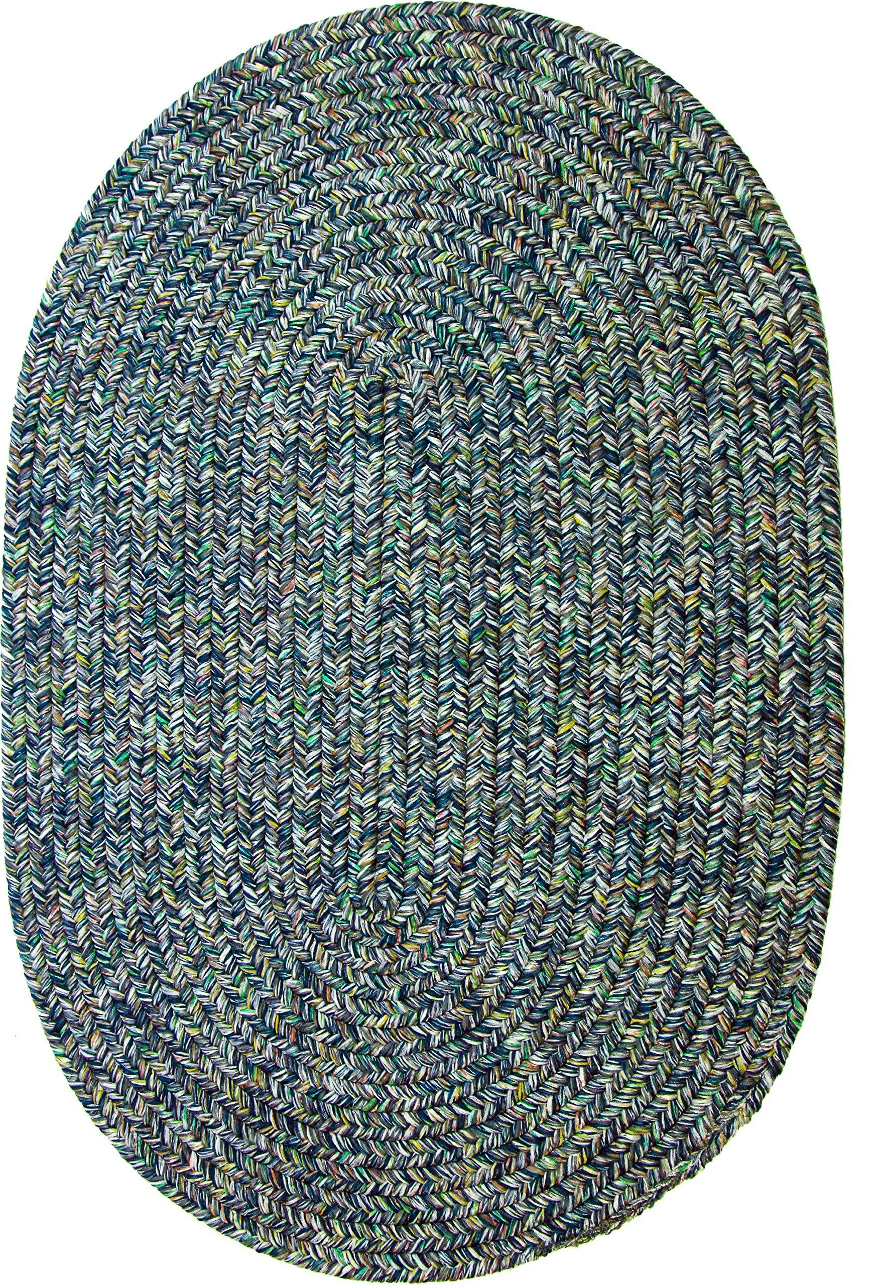 Sabrina Tweed Indoor/Outdoor Oval Braided Rug, 2 by 3-Feet, Denim