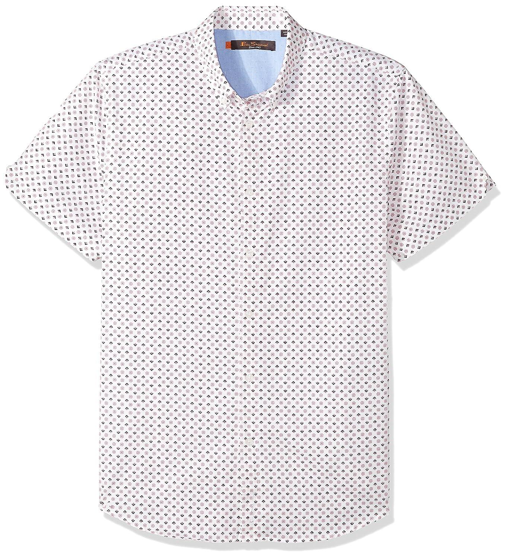 Ben Sherman Men's Short Sleeve Geo Floral Print Shirt SA18S49971