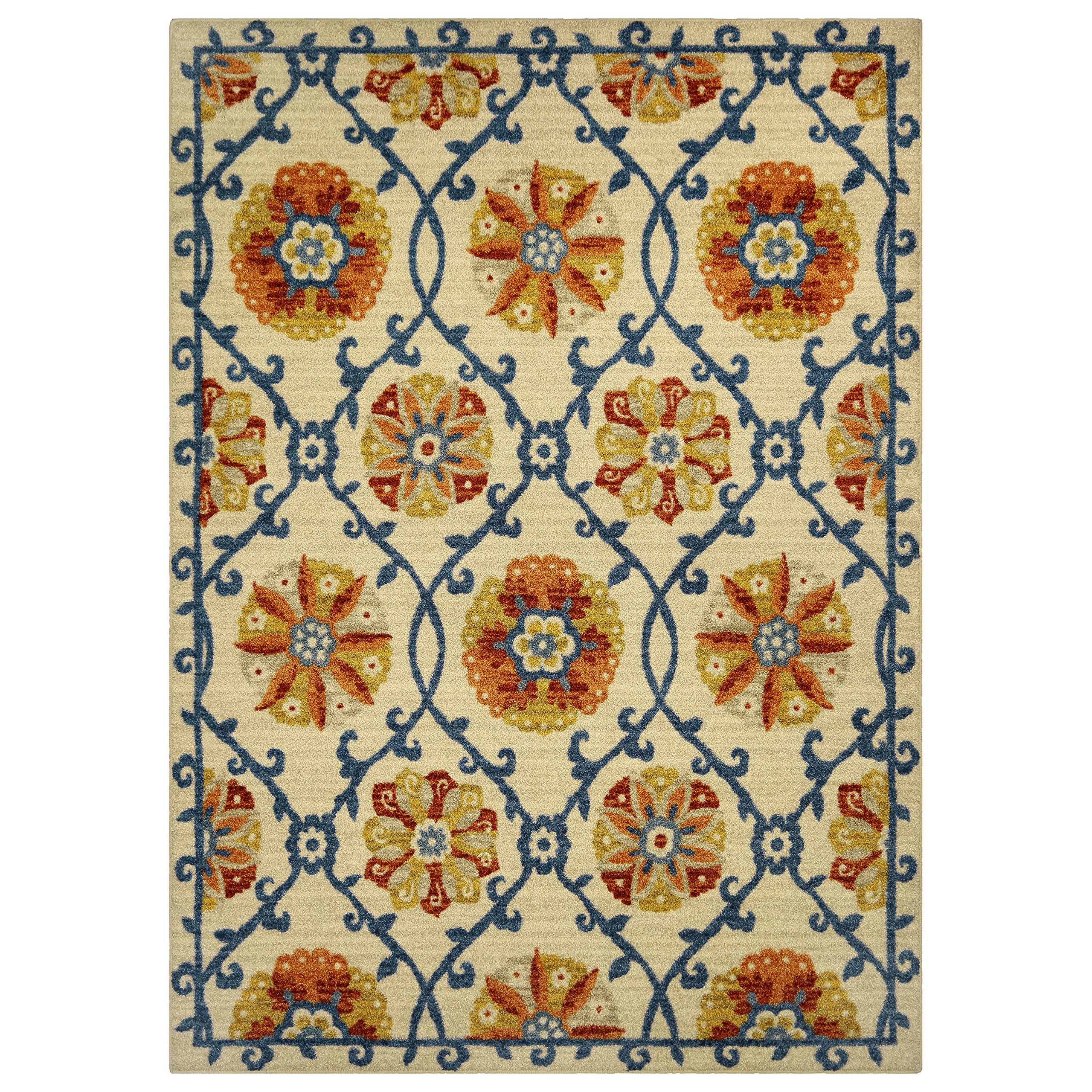 Area Rugs, Maples Rugs [Made in USA][Tricia Artwork Collection] 5' x 7' Non Slip Padded Large Rug for Living Room, Bedroom, and Dining Room