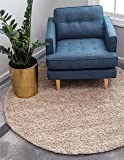 Unique Loom Solo Solid Shag Collection Modern Plush Taupe Round Rug (6' x 6')