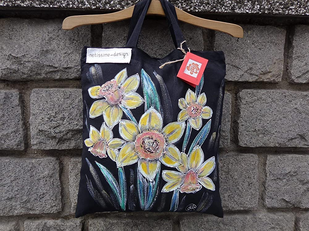 Hand Painted Yellow Daffodil Shopping Bag,Cotton tote bag