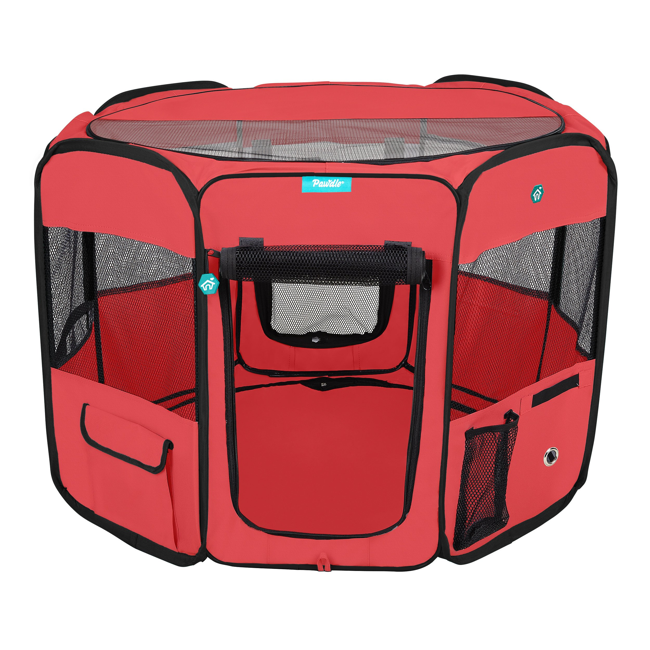 Deluxe Premium Pet Dog Playpen Portable Soft Dog Exercise Pen Kennel with Carry Bag for Dogs, Cats, Kittens, and All Pets (Medium, Red) by Pawdle