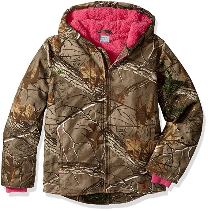 52d43e625 Carhartt Little Girls' Sherpa Lined Camo Redwood Jacket, Dark Brown Print,  XXS(