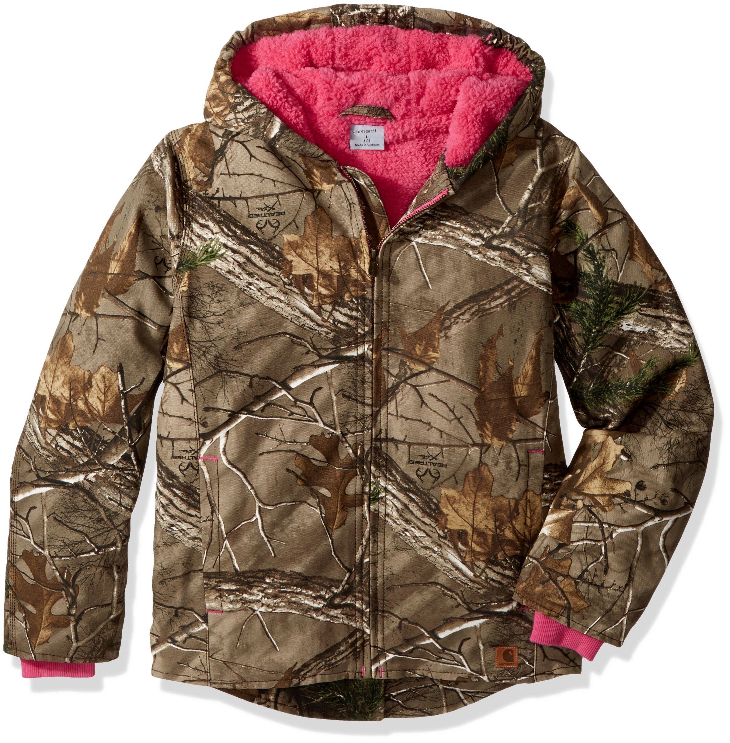 Carhartt Little Girls' Redwood Jacket Sherpa Lined, Dark Brown Print, XX-Small (4/5)