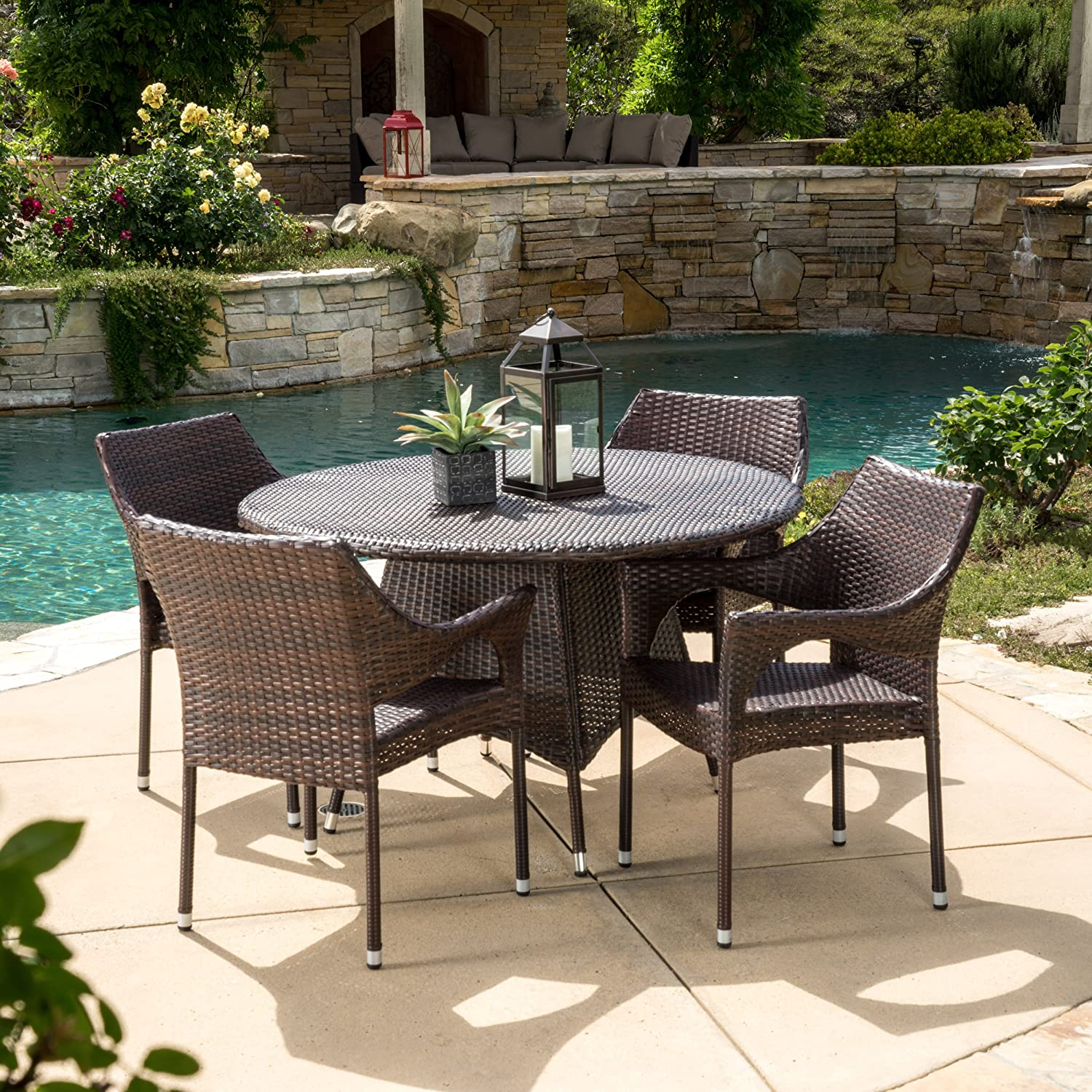 Christopher Knight Home Lorelei 5 Piece Outdoor Wicker Dining Set Perfect for Patio in Multibrown